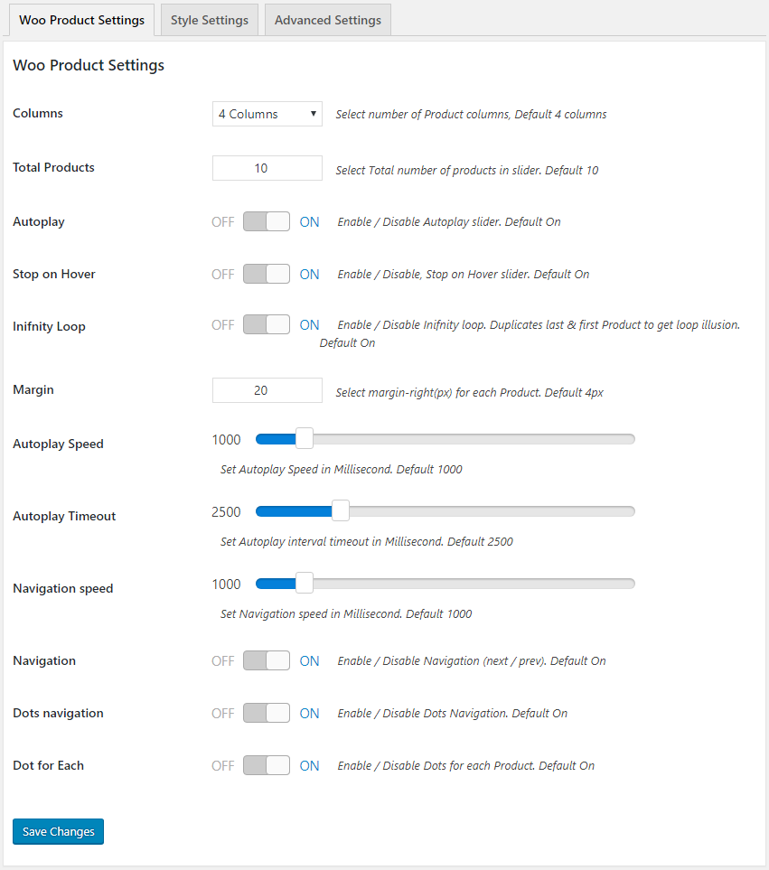 Woocommerce Product Slider Settings