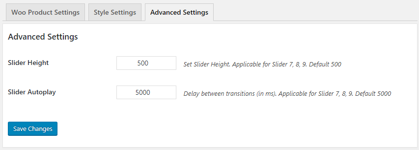 WooCommerce Product Slider Advanced Settings